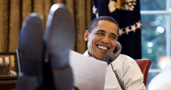 Barack Obama feet on desk